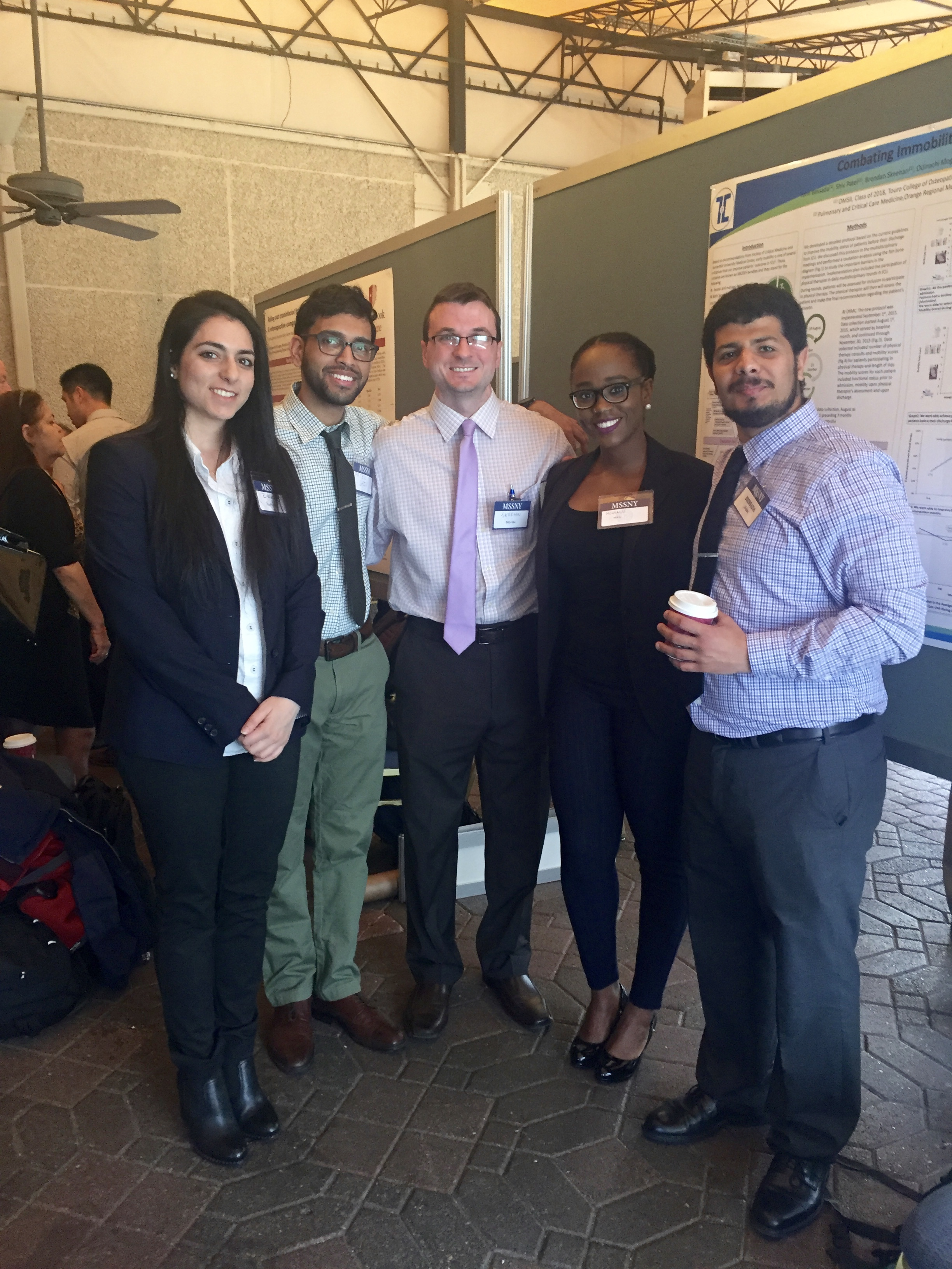 TouroCOM students will be presenting at the prestigious CHEST Conference this year. From left to right: TouroCOM students Satin Zakar, Shiv Patel, Brendan Skeehan, Oddie Moghalu and John Bessada.
