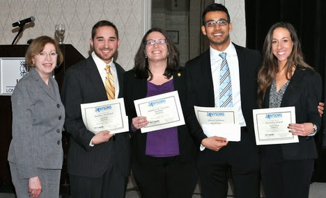 NYSOMS Poster Competition Chair Sonia Rivera Martinez, DO (far left), poses with student winners (l-r) Matthew Woodward, Kathleen M. Vazzana, Ahmad Rehmani, Alexandra Erhardt