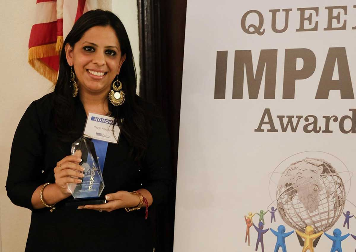 TImesLedger Newspapers honored 26 unsung heroes, including Payal Aggarwal at the 2018 Queens Impacts Awards, held at the Duglaston Manor.