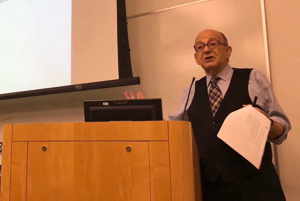 Dr. Robert Stern, a founding faculty member of TouroCOM, passed away on May 23 from complications of leukemia. He was a beloved faculty member and continued teaching until shortly before his death. The picture above was taken during one of his last lectures.