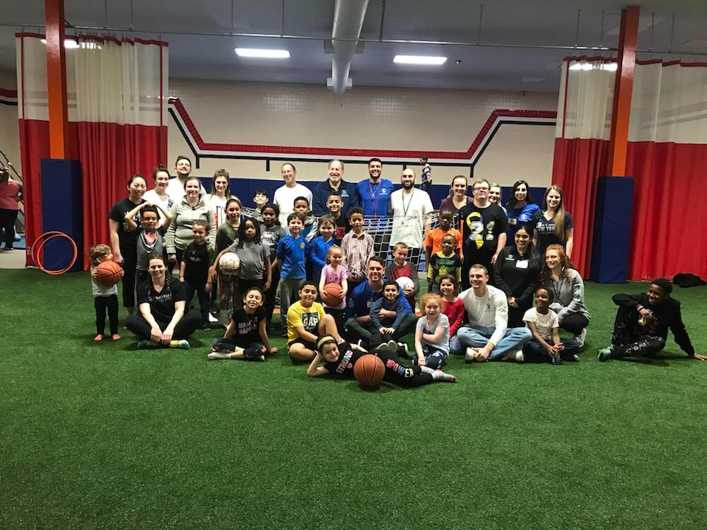 TouroCOM Middletown students took a break from studying to run a sports clinic for local children at the Middletown YMCA on Feb. 17.