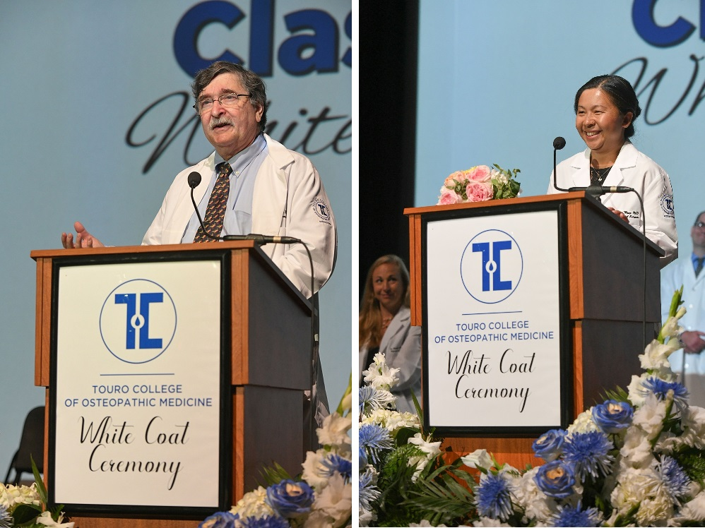 Dr. Alex Braun and Dr. Tanchun Wang were selected as TouroCOM Middletown\'s Teachers of the Year. They received their awards at the TouroCOM Middletown White Coat Ceremony on July 22.