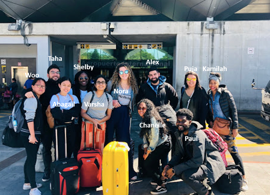 Varsha Venkatakrish (fifth from left), with TouroCOM Harlem students at Guatemala City airport. Dr. Kamilah Ali (back row far right), accompanied the students on their journey.