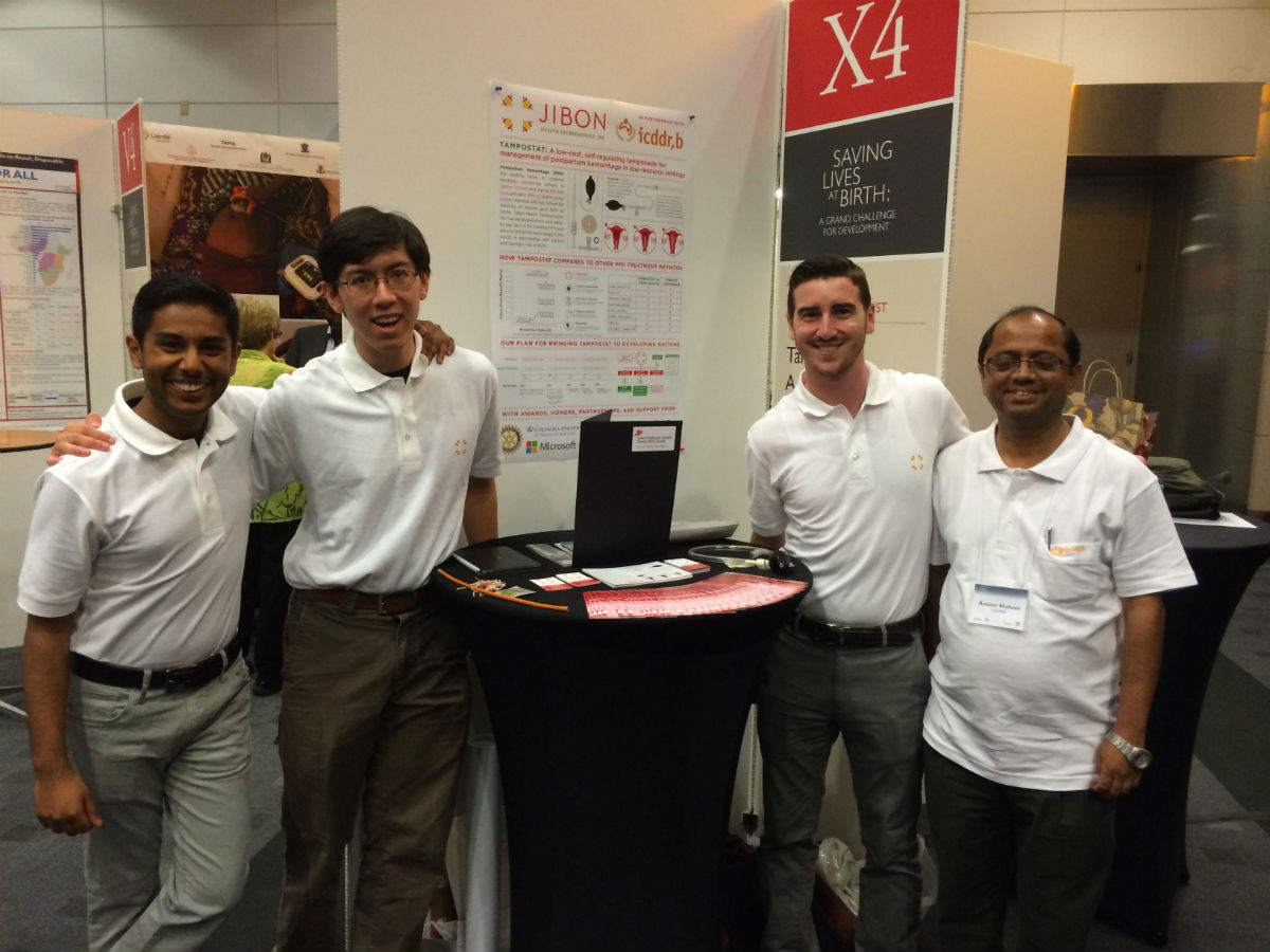 (Left to right): Jibon Health Technologies co-founder and CEO Mikail Kamal, a first-year med student at TouroCOM, with team members John Esau, Anthony Elder and Dr. Aminur Shaheen of the ICDDR,B at the Saving Lives at Birth conference in Washington, D.C.