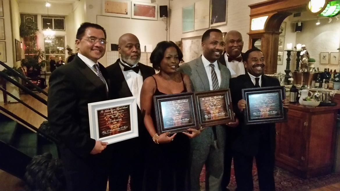 L-R: Honorees and Hosts Randy Gener, Clark D. Everson, TouroCOM Dean of Student Affairs Nadege Dady, Ed.D., William Gibbs, M.D., Professor Richard Alston (front), Henry C. Rawls