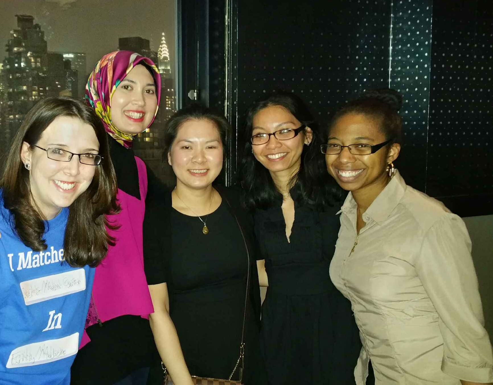 Students from TOUROCOM's Class of 2016 celebrating at a Residency Match Party, left to right: Gabrielle Rozenberg, Sarah Rooney, Kim Tuyen B. Lam, Shelley Co and Olga Jacques